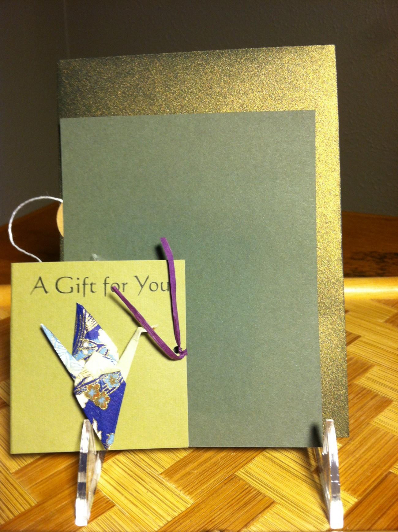 Origami Peace Crane Note Card and Tea