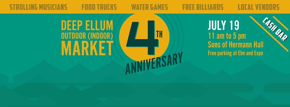 July 19:  Deep Ellum Outdoor Market moves inside