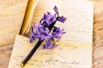 gratitude letters with purple flowers